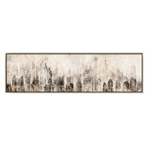 Oakland Living Wall Art - New York Cityscape - Silver Wood Frame - 71-in x 20-in