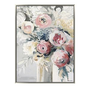 Oakland Living Wall Art - Flower Vase - Silver Wood Frame - 35-in x 47-in