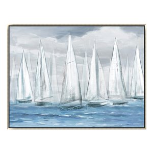 Oakland Living Wall Art - Overcast Sailboats - Silver Wood Frame - 47-in x 35-in