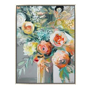 Oakland Living Wall Art - Flower Vase - Silver Wooden Frame - 35-in x 47-in