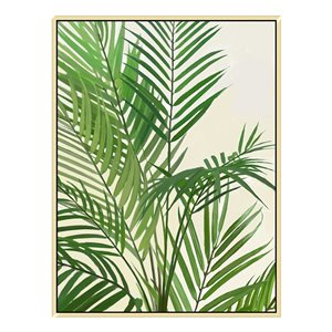 Oakland Living Wall Art - Tropical Plant - Brown Wood Frame - 30-in x 39-in