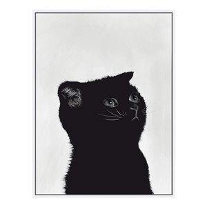 Oakland Living Wall Art - Black Kitten Left - White Wood Frame - 30-in x 39-in
