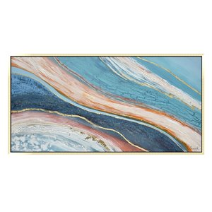 Oakland Living Wall Art - Bleu/Red Abstract - Wood Frame - 59-in x 30-in