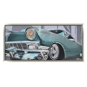 Oakland Living Aluminum 3D Wall Art - Car - Silver Wooden Frame - 71-in x 31-in