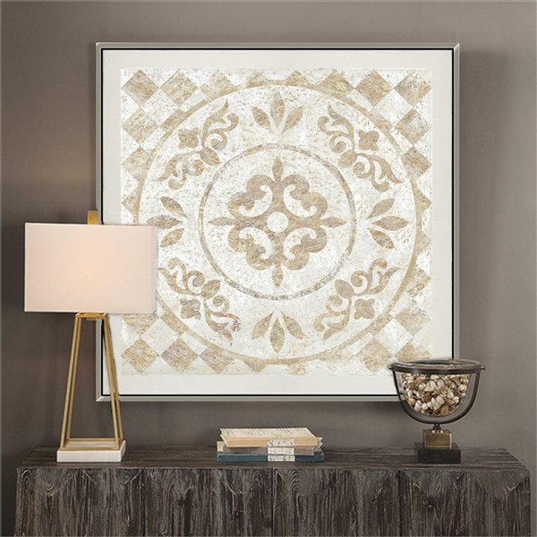Oakland Living Wall Art - Ornate Moroccan - Silver Wood Frame - 39-in x 39-in