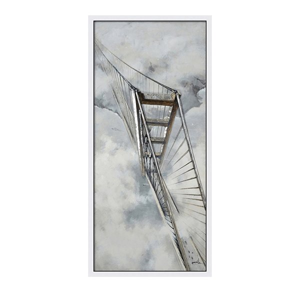Oakland Living Acrylic Wall Art - Bridge - White Wooden Frame - 32-in x 71-in