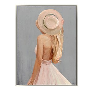 Oakland Living Wall Art - Girl Pink Dress - Silver Wooden Frame - 35-in x 47-in