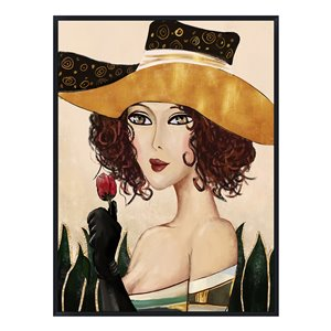 Oakland Living Acrylic Wall Art - Rose Woman - Black Wood Frame - 35-in x 47-in