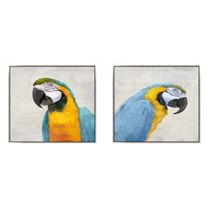 Oakland Living Wall Art - Blue Parrots - Pink Wood Frame - 39-in x 39-in - 2/Pk