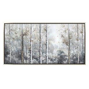Oakland Living Wall Art - Birch Trees - Silver Wooden Frame - 55-in x 28-in