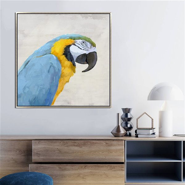 Oakland Living Wall Art - Left Blue Parrot - Pink Wood Frame - 39-in x 39-in
