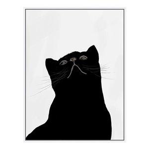 Oakland Living Wall Art - Black Kitten Right - White Wood Frame - 30-in x 39-in