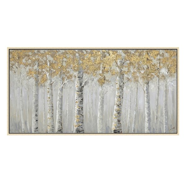 Oakland Living Wall Art - White Birch Trees - Pink Wooden Frame - 55-in x 28-in