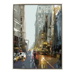 Oakland Living Acrylic Wall Art - Cityscape - Silver Wood Frame - 35-in x 47-in