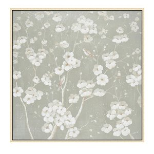 Oakland Living Wall Art - White Flowers - Brown Wooden Frame - 39-in x 39-in