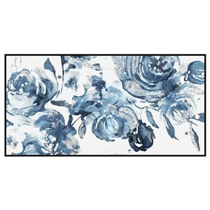 Oakland Living Acrylic Wall Art - Blue Flowers - Black Wood Frame 47-in x 24-in
