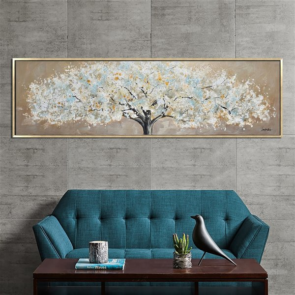 Oakland Living Acrylic Wall Art - White Tree - Gold Wooden Frame - 71-in x 20-in