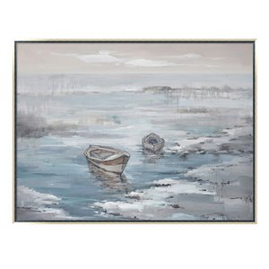 Oakland Living Acrylic Wall Art - Ocean - Silver Wooden Frame - 47-in x 35-in