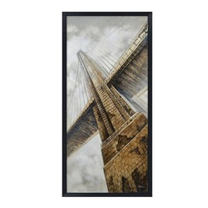 Oakland Living Foam 3D Wall Art - Bridge - Black Wooden Frame - 32-in x 71-in