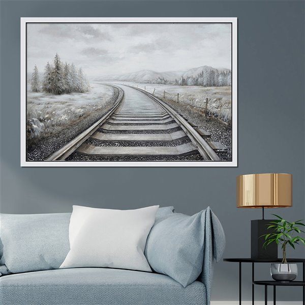 Oakland Living 3D Wall Art - Railroad Tracks - White Wood Frame - 59-in x 39-in
