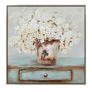 Oakland Living Wall Art - Floral Rustic - Silver Wood Frame 39-in x 39-in