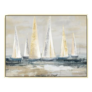 Oakland Living Wall Art - Golden Sailboats - Gold Wood Frame - 47-in x 35-in