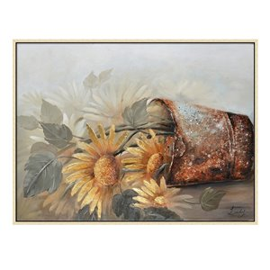 Oakland Living Wall Art - Sunflowers Vase - Brown Wooden Frame - 47-in x 35-in