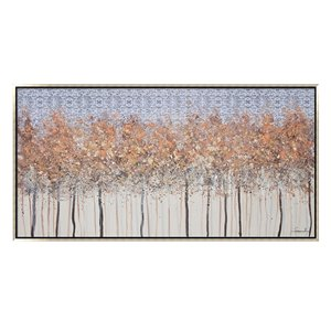 Oakland Living Wall Art - Autumn Trees - Silver Wooden Frame - 59-in x 30-in