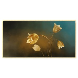 Oakland Living Wall Art - Glowing Tulips - Gold Wood Frame - 55-in x 28-in
