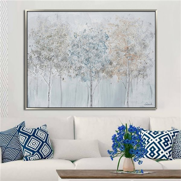 Oakland Living Wall Art - Blue Forest - Silver Wooden Frame - 47-in x 35-in