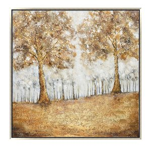 Oakland Living Wall Art - Golden Forest - Silver Wooden Frame - 39-in x 39-in
