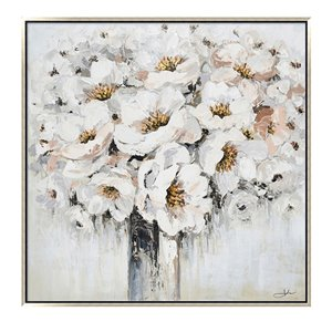 Oakland Living Wall Art - White Bouquet - Silver Wooden Frame - 39-in x 39-in
