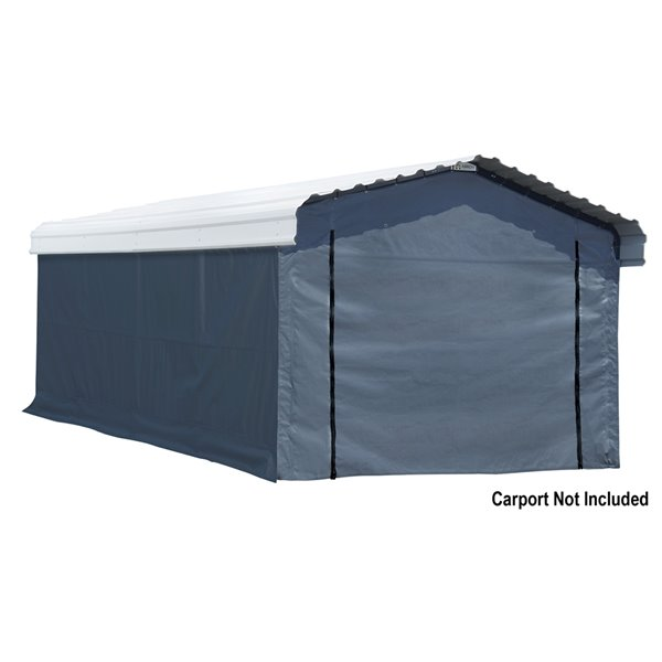 Enclosure Kit Accessory for 12x20 ft Carport Grey