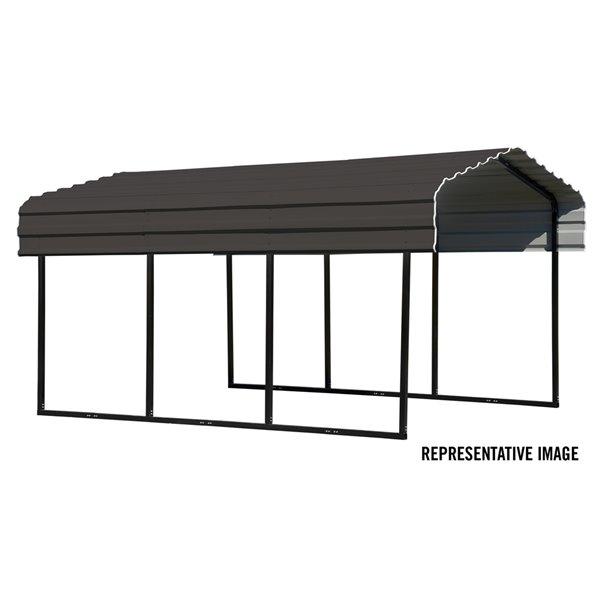 Steel Carport 10x20x7 ft Galvanized Black/Charcoal