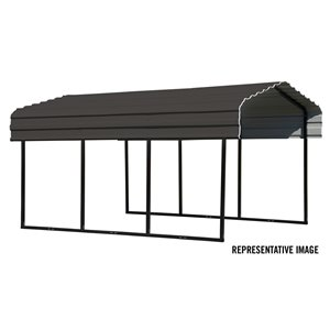Steel Carport 10x20x7 ft Galvanized Black/Charcoal