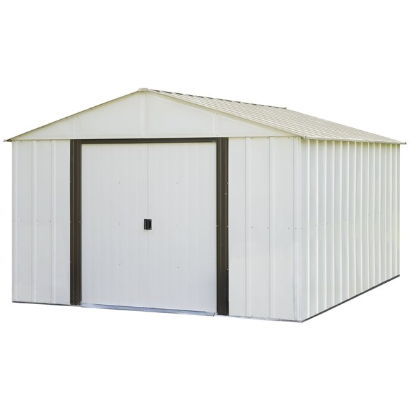 Arlington 10x12ft Steel Storage Shed Eggsh./Coffee