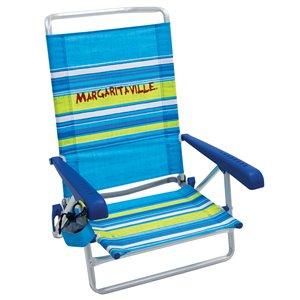 Chaise Plage 5 Pos. Margaritaville, bande Bleue