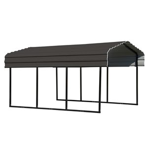 Steel Carport 10x15x7 ft Galvanized Black/Charcoal