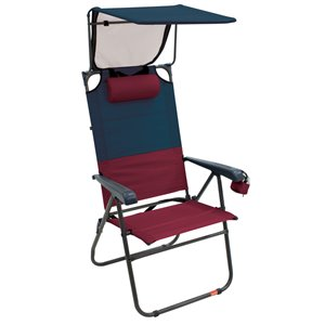 RIO Gear Hi-Boy Aluminum Canopy Chair-Char/Oxblood