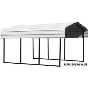 Steel Carport 10x20x7 ft Galvanized Black/Eggshell