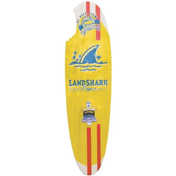 Landshark Bottle Opener Sign - Magnetic Cap Catch