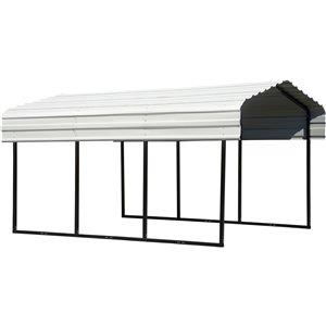 Steel Carport 10x15x7 ft Galvanized Black/Eggshell