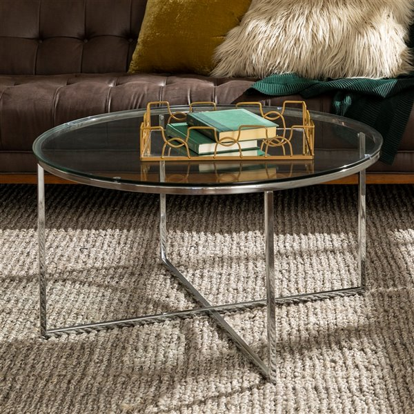 Walker Edison Mid Century Modern Coffee Table with X-Base - 36-in - Glass/Chrome