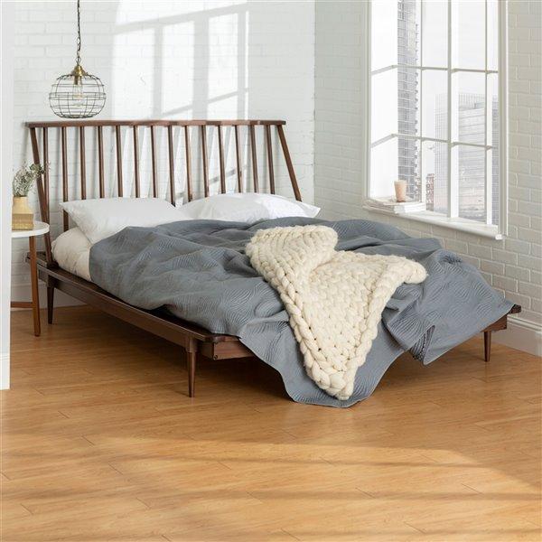 Walker Edison Modern Wood Queen Spindle, Walnut Spindle Bed Queen