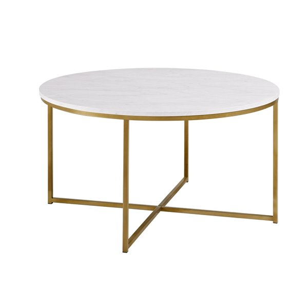 Walker Edison Coffee Table with X-Base - 36-in - Marble/Gold