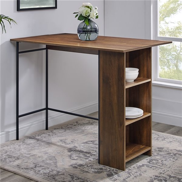 48-in Counter Height Drop Leaf Table with Storage - Dark Walnut
