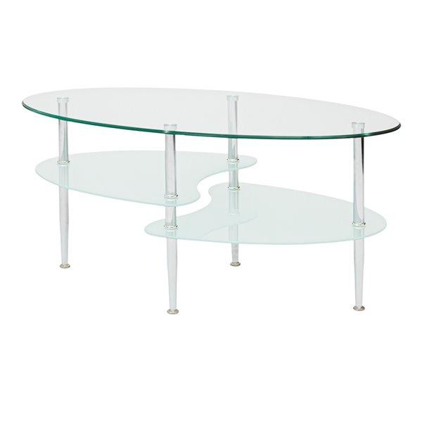 Walker Edison Glass Oval Living Room Metal Coffee Table