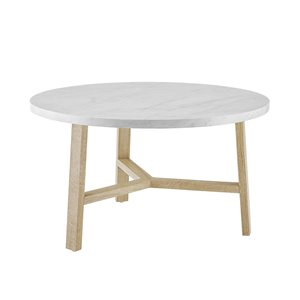 Walker Edison Mid Century Modern Round Coffee Table - White Marble/Light Oak