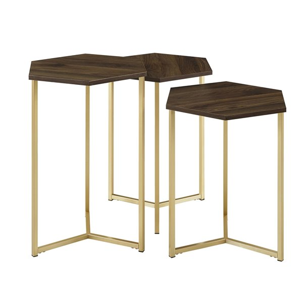 Walker Edison Modern Wood Nesting Table Set - 3 Pieces - Dark Walnut/ Gold