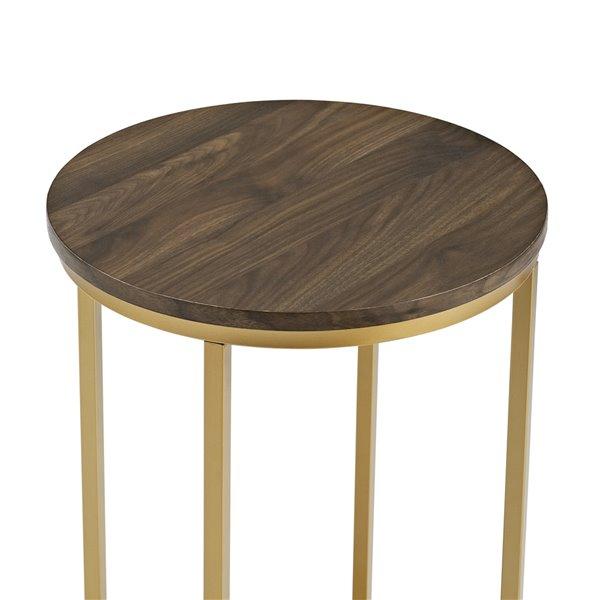 Walker Edison Round Side Table - 16-in - Dark Walnut/Gold